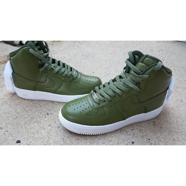 green and white nike air force 1 mid size 12