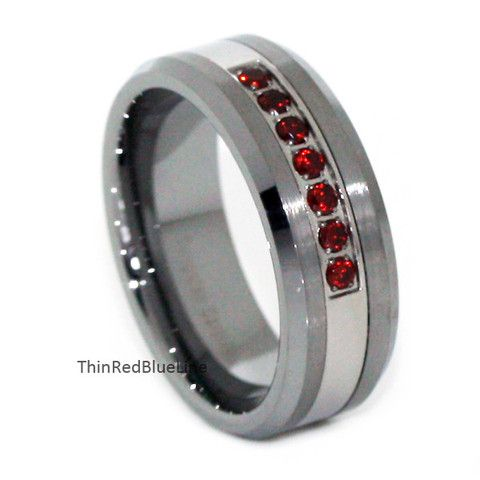 $35 THIN RED LINE BRUSHED TUNGSTEN CARBIDE RING 7 RED CZ DIAMONDS 8MM, Thin Red Blue Line - Donations made to firefighter and police charities