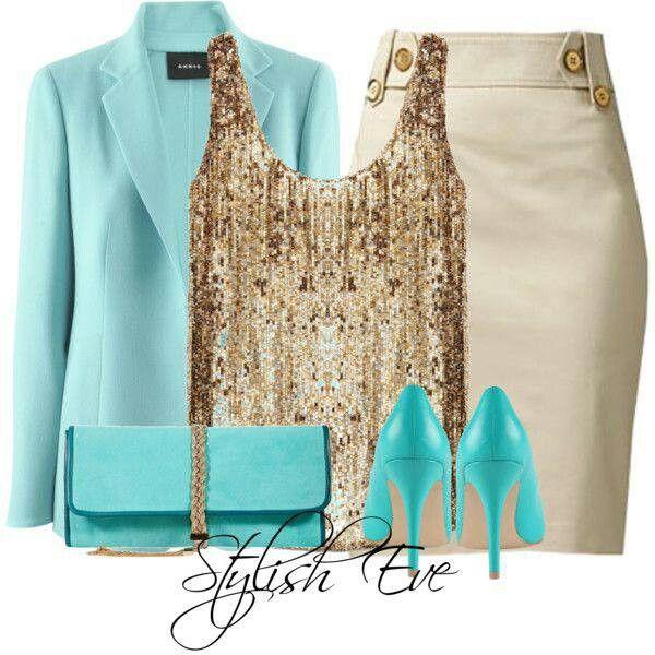 gold sequin tank, aqua blazer, beige pencil skirt, aqua heels & bag