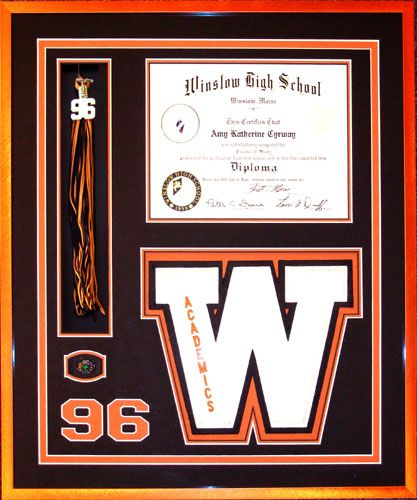 You worked hard for that diploma — preserve the investment! High School Diploma with tassel, ring and academic letter framed with Museum glass  http://www.theframemakers.com/diploma.htm