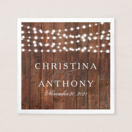 Summer String Lights Rustic Wedding Paper Napkin - summer wedding diy marriage customize personalize couple idea individuel