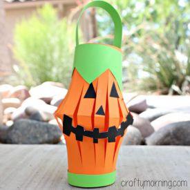Pumpkin toilet paper roll lantern idea craft for kids
