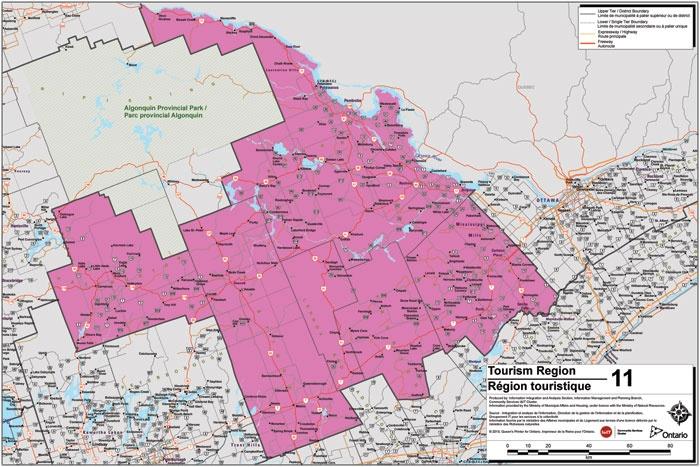 Haliburton Highlands to Ottawa Valley Tourism Region Map