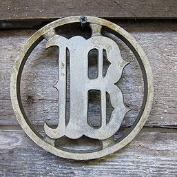 """Vintage cast metal letter """"B"""" house letter"""
