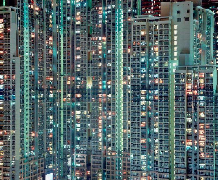 hong kong | Photos of Hong Kong apartment complexes at night by Michael Wolf