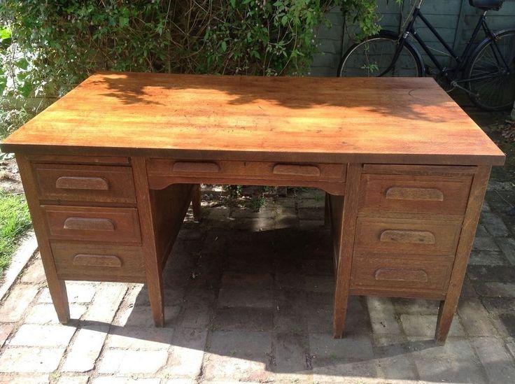 Details about vintage solid oak pedestal desk delivery available