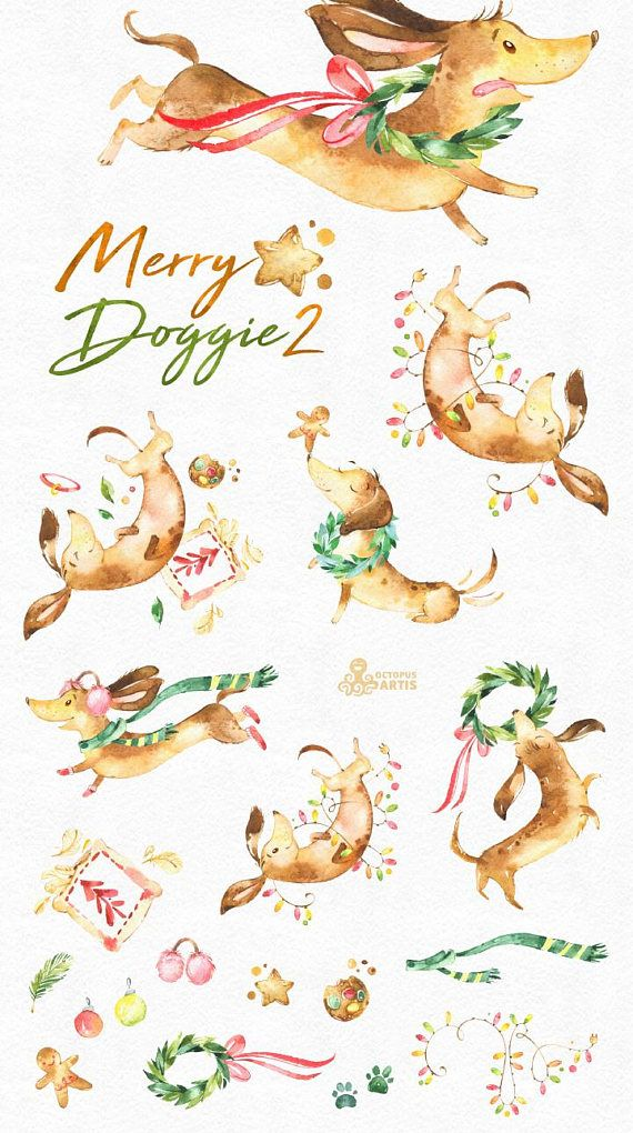 This set of 19 high quality hand painted watercolor dog and other graphics. Perfect graphic for Christmas project, greeting cards, photos, posters, quotes and more.  -----------------------------------------------------------------  INSTANT DOWNLOAD Once payment is cleared, you can download your files directly from your Etsy account.  -----------------------------------------------------------------  This listing includes:  19 x Images in PNG with transparent background, different size…
