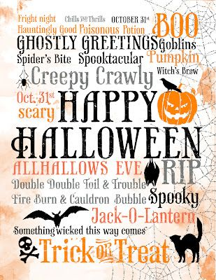 Halloween subway art printable - print backwards in a high color version and transfer to wood!