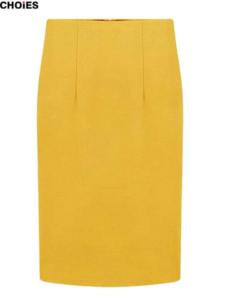 CHOIES Women Plain Burgundy/Yellow/Black Back Zipper High Waist Office Lady Knee-length Pencil Skirt S-XL 2016 Spring New