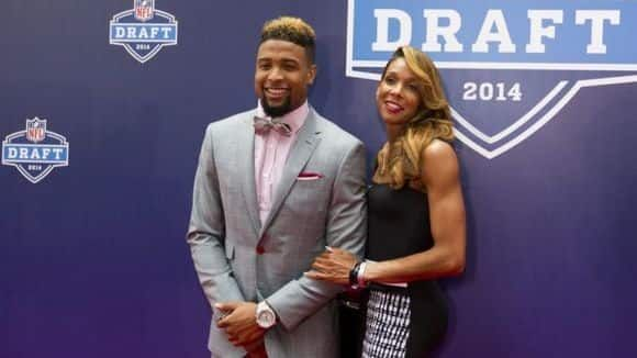 """Odell Beckham Jr. poses with mother Heather Van Norman""""I'll never forget the first day I took Odell Jr. to class,"""" Heather remembered. """"The teacher, Dr. Richard McGill, was so excited I brought him. I said `I'm sorry I don't have day care yet.' He said, `I don't expect you to, have a seat.'"""