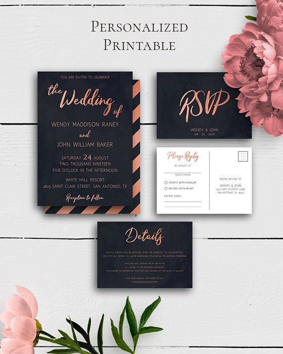 Rose Gold Invitation With Card with unique and amazing watercolor design with navy blue and rose gold for the lovers of the modern style.Build your suite - choose your card combination by Amistyle Digital Art on Etsy