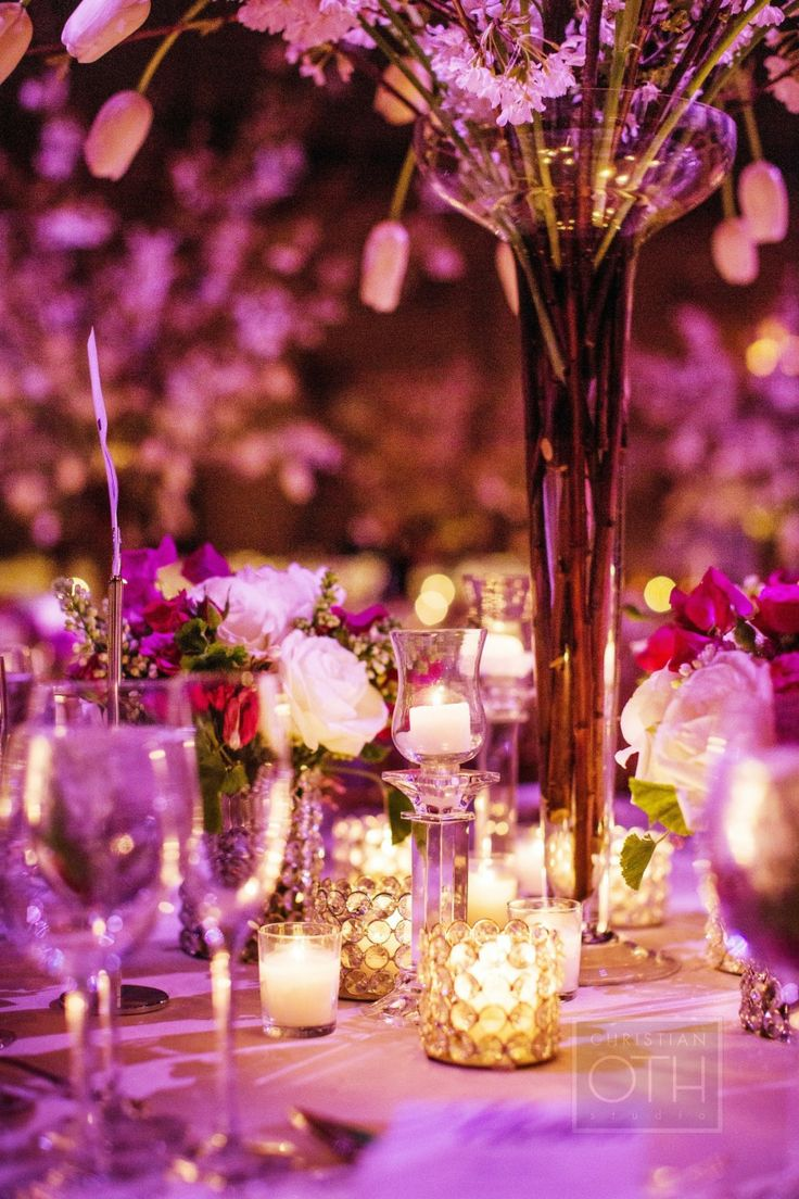Candlelit Dinner #LiveLoveLingerie #figleaves #Lingerie: Beautiful Flower, Pantone Colors, Pink Purple Wedding, Oth Studios, Flowers Arrangements, Christian Oth, Bellefleurnycom Reading, Flowers Candles Decor, Wedding Centerpieces