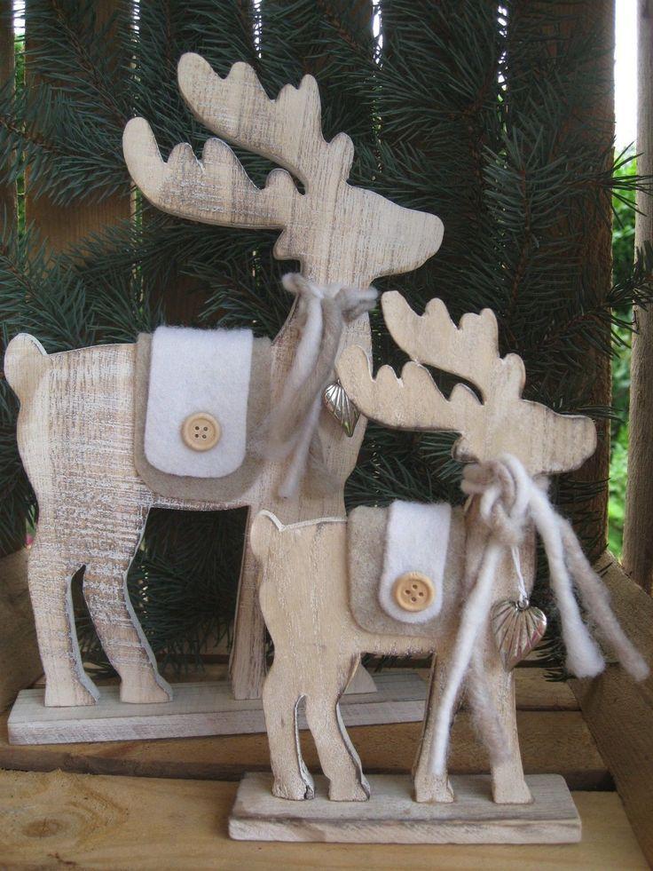 Großer Elch aus Holz mit Filzdeko u. Herz Rentier Weihnachten Deko Shabby Hirsch • EUR 14,95 - PicClick DE