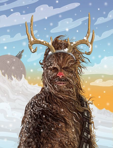 Star Wars Christmas Card Chewbacca the Red Nosed by CastleMcQuade, $3.75