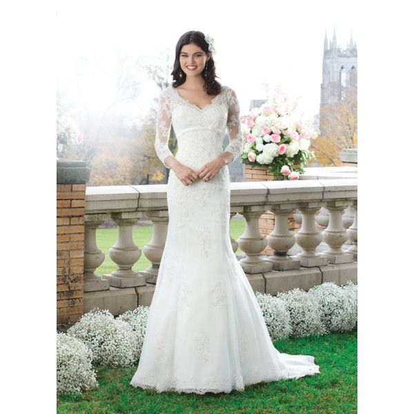 Fit And Flare Beaded Lace Wedding Dress With Long Sleeves Wedding Pintere