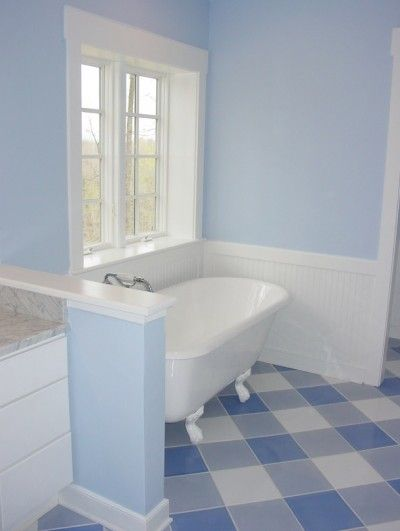 Meridian Road Gingham flooring? Maybe in the laundry room - putting wide blue and white stripe on the upper walls over bottom white wainscotting.