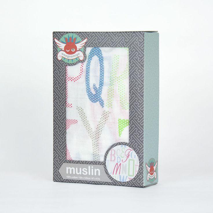 Weegoamigo Printed Baby Muslin - Letters $14.95