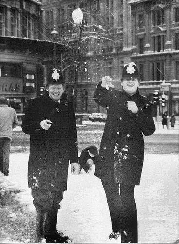 Cannon Row (Alpha Delta) Police Station Police Constables & Snowballs, Trafalgar Square, London, UK 1980's.