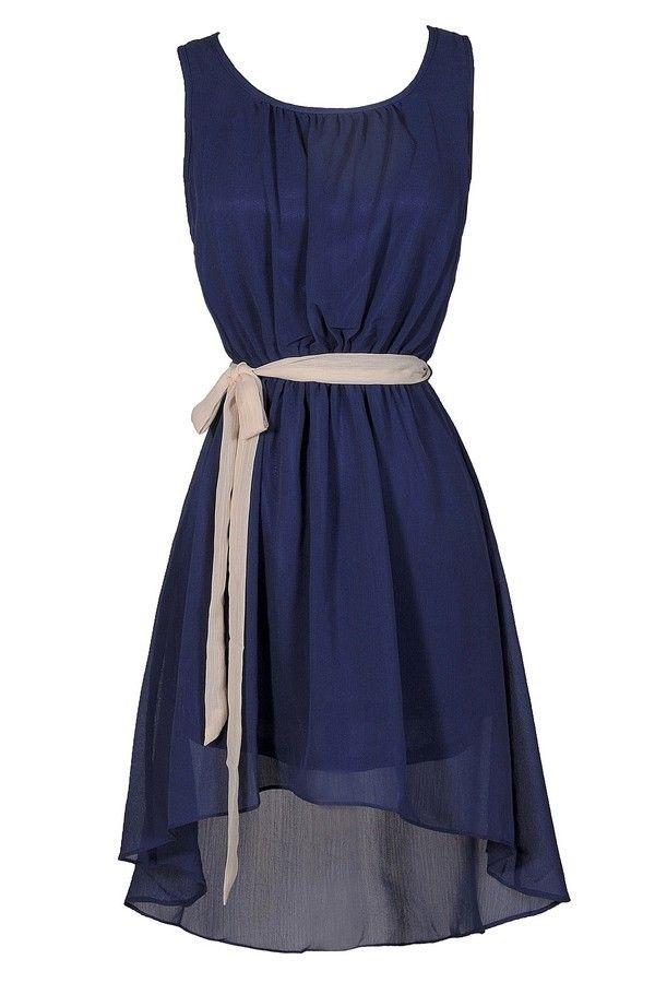 Simpler Times High Low Contrast Sash Dress in Blue/Beige