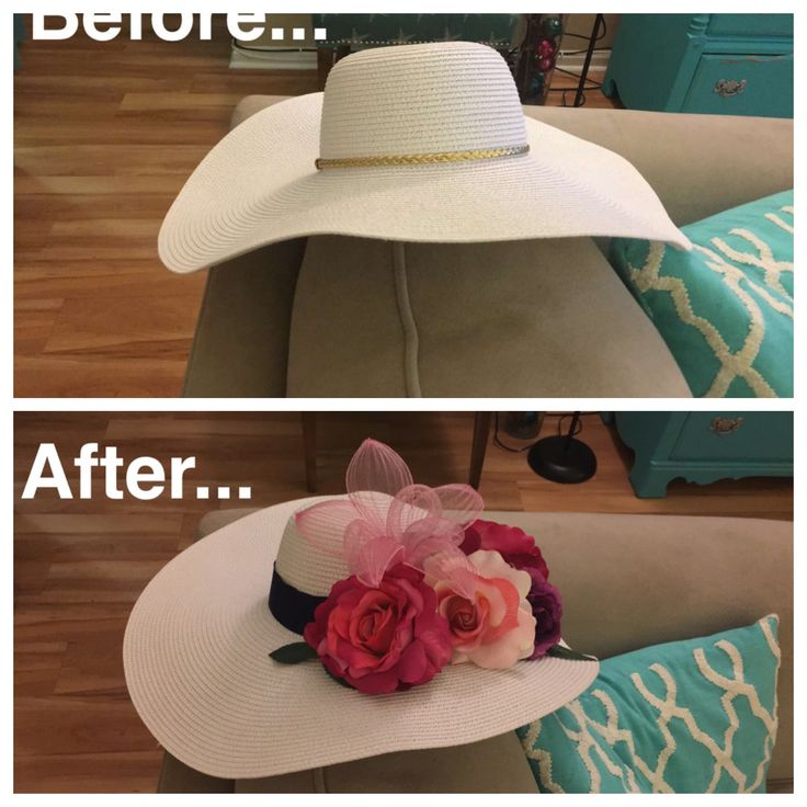 *DIY DERBY HAT* Take a plain sun hat and turn it into your perfect Derby hat! Sun hat - $15.99 at Target Flowers and Ribbon - $25.00 at Michael's