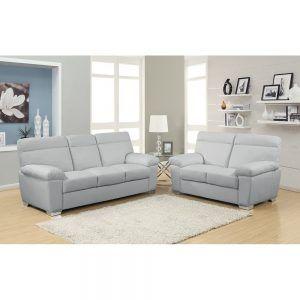 Light Grey Leather Sofa Set