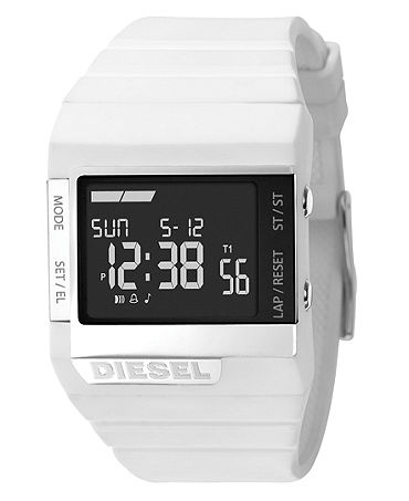 Woman have their rings, necklaces, bracelets and earrings. Men have watches! Wear a watch with a funky colored band for a pop to your outfit. I own this Diesel watch in Green! (macys.com)