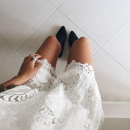 white crochet & black boots