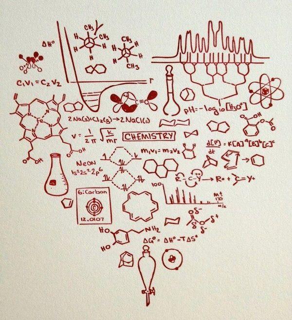 Coracão da quimica - coracao feito de varias formulas de quimica