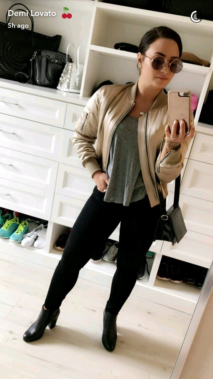 Demi Lovoto | May 9, 2017 | tan jacket + grey t-shirt + black skinny pants + booties with heel