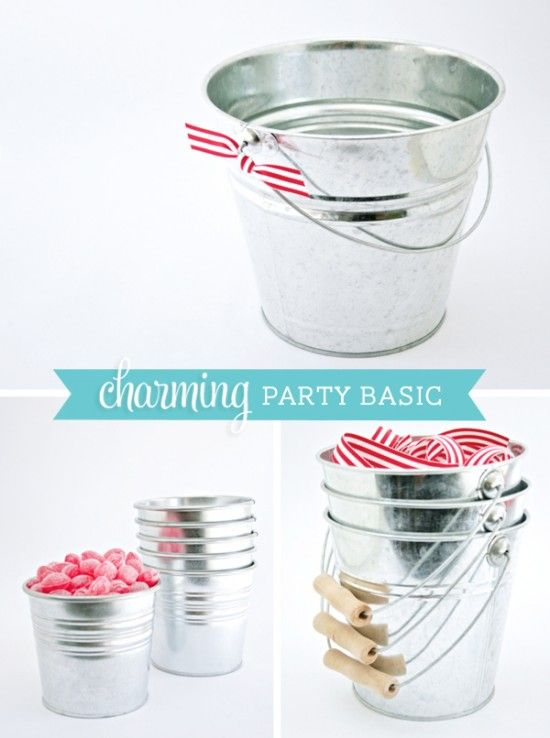 Party basics galvanized metal buckets or pails in various for Galvanized metal buckets small