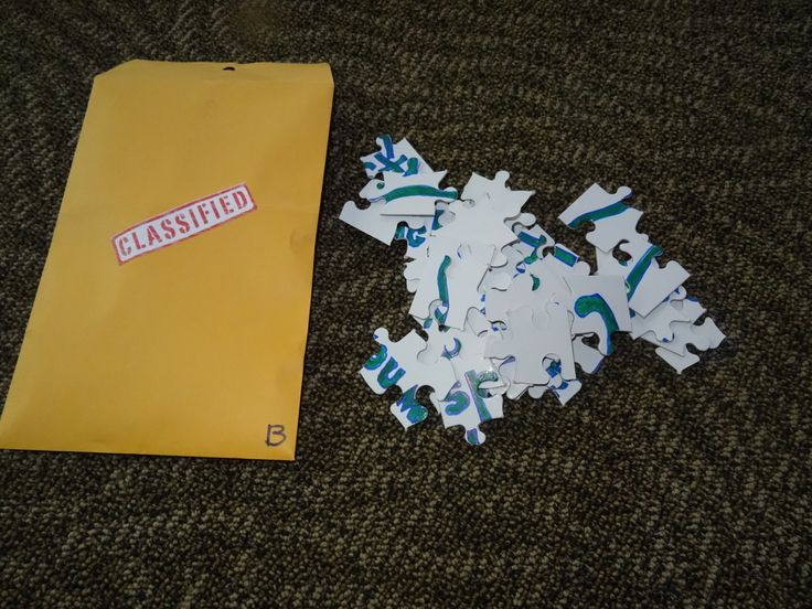One of the clues for the detective party - they had to put the puzzle together to read the clue