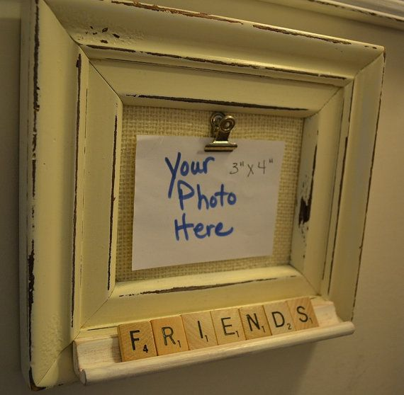 Picture Frame Shabby Chic Upcycled Scrabble tile by thirtyone13, $12.95
