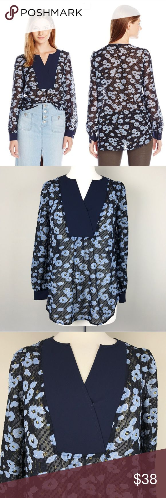 """{Jones New York} Dot Texture Floral Blouse, $69.50 This top lends a touch of romance to any look with its pretty floral print on sheer Swiss dot fabric and full poet sleeves. Fabric: 100% Polyester - Long sleeves - Single-button cuff with slit - Split neckline - Curved hemline - Pullover style - Sheer design - Style# JMMEKR3025 - Color: Navy  * Armpit to Armpit: 19.25"""" * Length: back 27.5"""" * Armpit to hem: 16"""" * Shoulders: 16"""" * Sleeve length: 23.75"""", armpit to cuff: 17.5"""" * Machine wash…"""