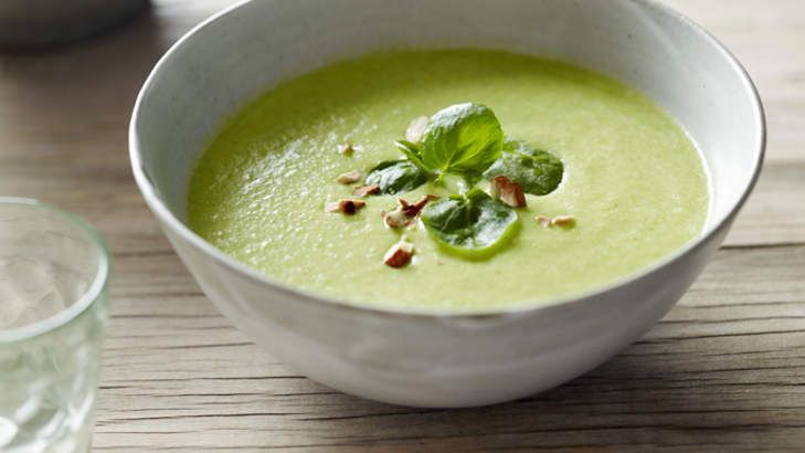 Winter warmer: Zucchini and pea soup with chicken stock.