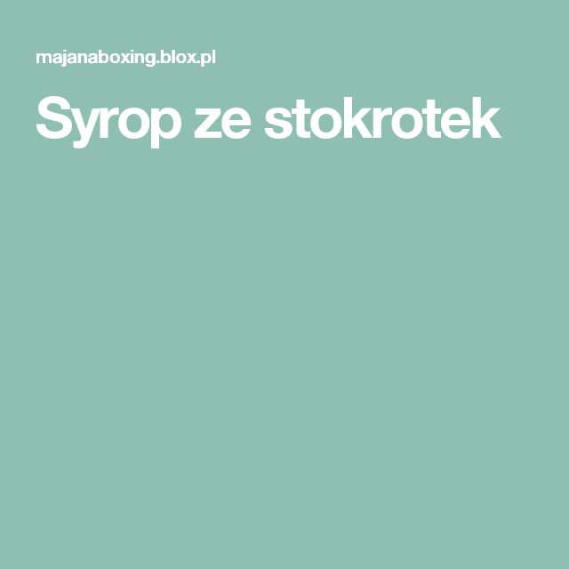 Syrop ze stokrotek