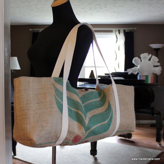 Yoga bag made from upcycled coffee sack