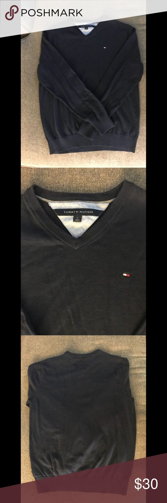 Tommy Hilfiger Blue Pullover Sweater Blue Tommy Hilfiger pullover sweater in great condition. It is 100% cotton and easily a staple in ones fall/winter closet. Can be worn with jeans, skirt, or work pants. Tommy Hilfiger Sweaters V-Necks