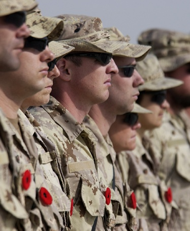 Lest we forget  Canadian Forces soldiers on the international mission in Afghanistan as they pause for remembrance