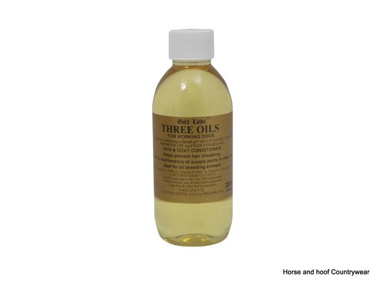 Gold Label Canine Three Oils 250ml Cod liver oil wheatgerm oil and evening primrose oil Helps nourish the skin and coat and aids joint mobility in older dogs