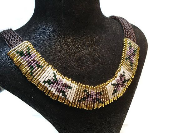 Colorful Necklace-Christmas Gift-Purple-Gold by FIGENTAKI on Etsy