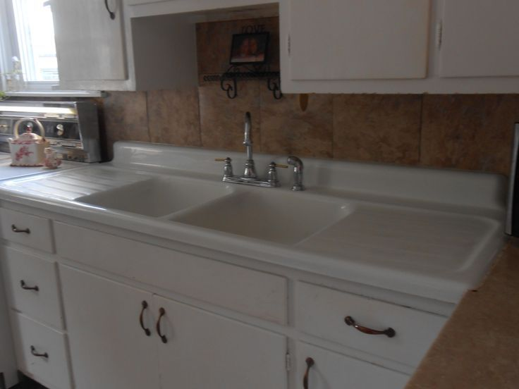 Nice Image Of: Cast Iron Kitchen Sink With Drainboard Picture