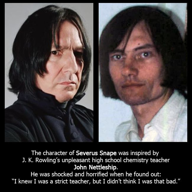 Severus Snape's character was inspired by J  K  Rowling's chemistry