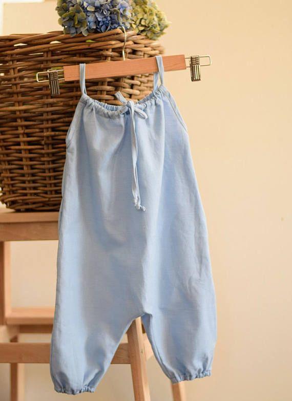 Organic Chambray Girls Summer Playsuit - Long Leg style Bubble romper