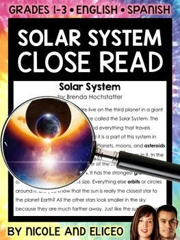 This downloads in English plus a FREE Spanish version. It has a variety of resources for your Solar System lessons or unit. It includes a close reading guide, text code reference sheet, poster, vocabulary cards, non-fiction text and activity sheets. I made these Solar System close reading activities to boost my students vocabulary development and deepen their comprehension as they learn to read with a purpose and pay more attention to details.