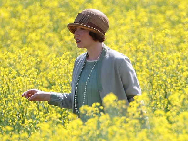 downton abbey | Flower power ... Daisy Lewis filming scene for Downton Abbey