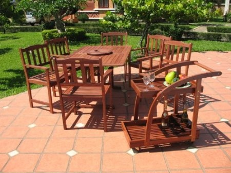 Amazon.com: 8pc Outdoor Wood Patio Dining Furniture Set: Patio, Lawn U0026