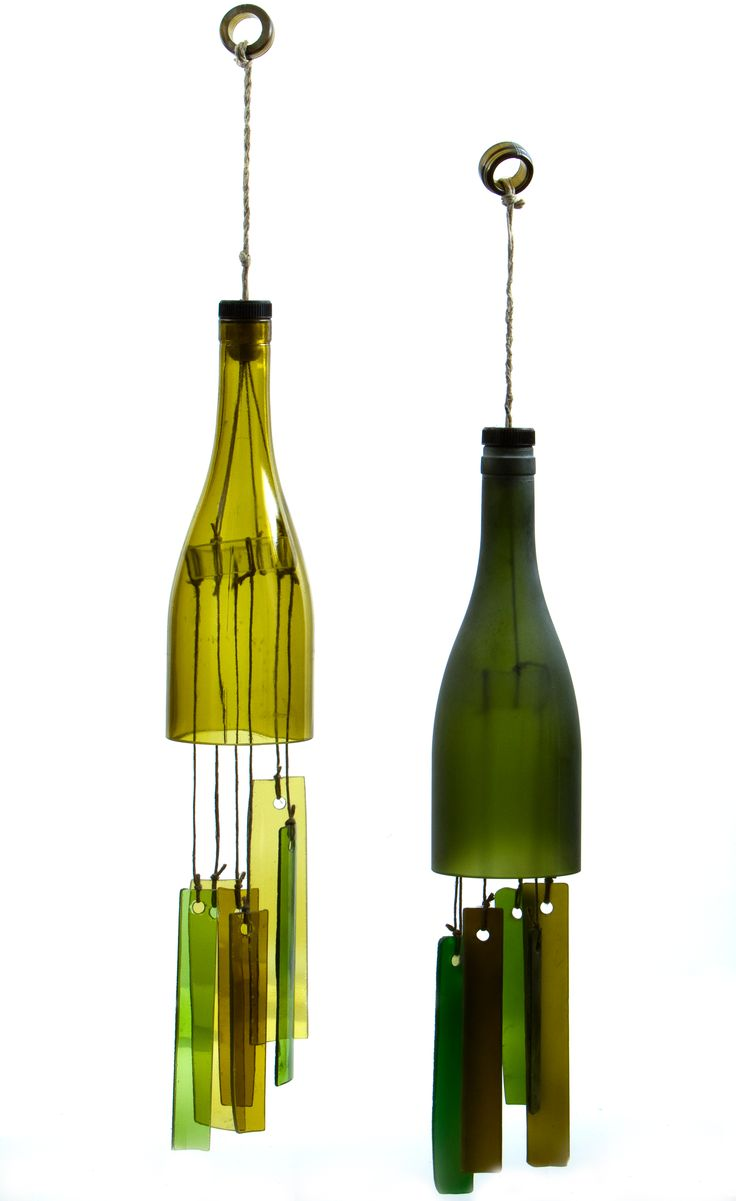 green wine bottle chimes wind chimes pinterest
