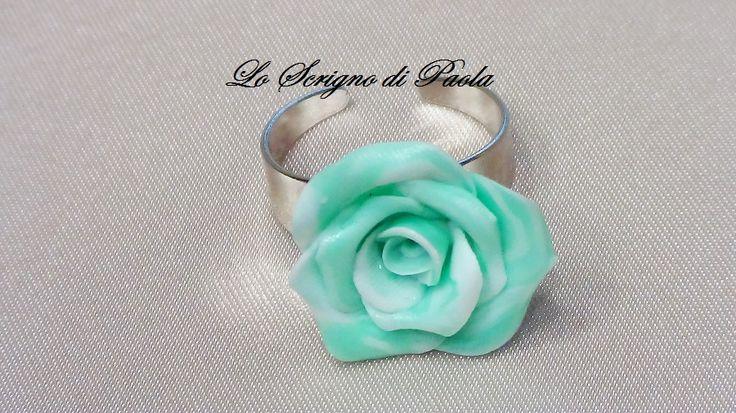Anello in pasta di mais con effetto marmorizzato,realizzato a mano. Per altre creazioni potete visitare il mio blog: http://creazionibijouxpaola.altervista.org