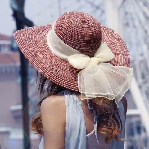 Chiffon bow wide brim sun hat for women UV floppy straw hats