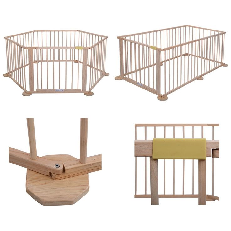 Baby Playpen 6 Panel Foldable Wooden Frame Kids Play Center Yard Indoor&Outdoor - Play Yards - Baby Toys & Activity Equipment - Baby & Toddler - Others